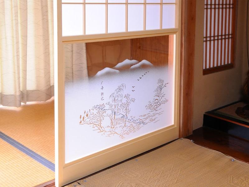 障子用ガラス(ぼかし山水)2